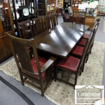6958-1 - Stickley Sol Oak Mission Table with 10 Chairs