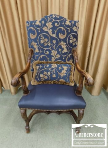 6974-2 - Blue Upholstered Arm Chair