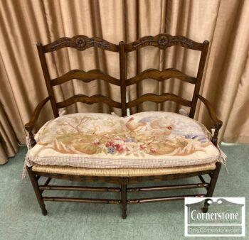 7000-1025-Oak Rush Seat Settee
