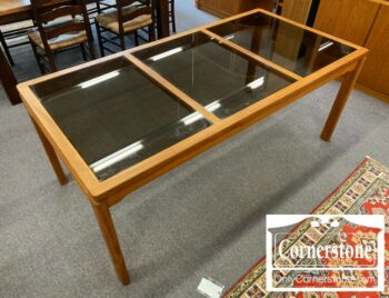 7000-1042-Teak Danish Modern Table with Glass