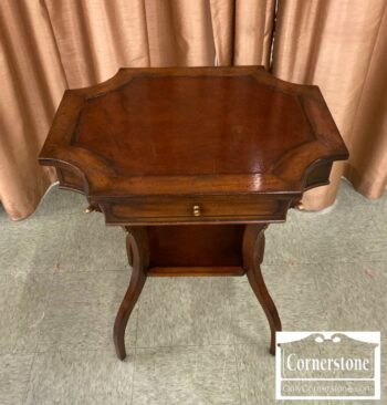 7000-1141-Drexel Heritage Mah End Table w Leather Top
