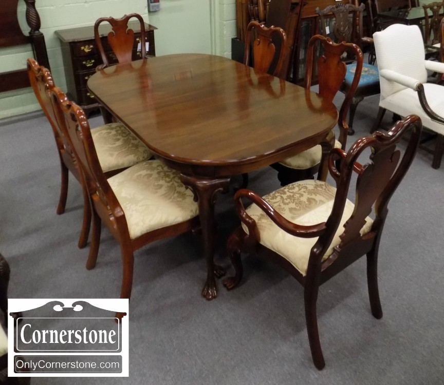 7000 124 Solid Cherry Table With 3 Leaves And 6 Chairs