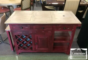 7000-399 - Red Painted Kitchen Island