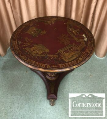 7000-470 - Maitland Smith Red Chinoiserie Rnd End Tbl