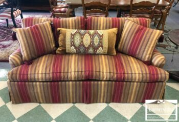 7000-472 - Hickory Chair Red Gold Striped Sofa