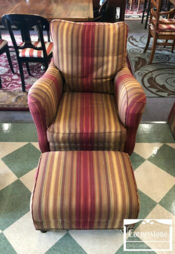7000-481 - Hickory Chair Red Gold Stripe Chair Ottoman