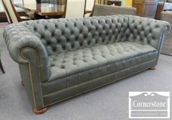 7000-518 - Hickory Chair Gray Chesterfield Leather Sofa