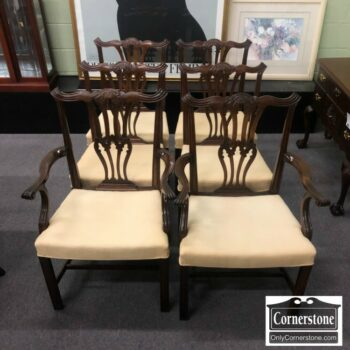 7000-568 - Set of 6 Baker Solid Mah Chippendale Chairs