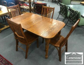7000-678 - Solid Oak Table 1 Leaf 4 Chairs