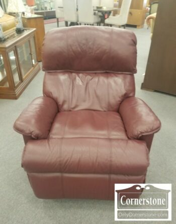 7000-747-Flexsteel Burgundy Leather Recliner
