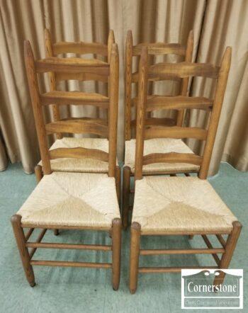 7000-811-Set of 4 JH Craver Sol Oak Rush Seat Chrs
