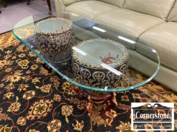 7000-840-Glass Coffee Table w Fish Bowls Base
