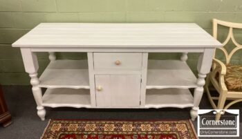 7000-850-Custome Made Large White Distressed Craft Table