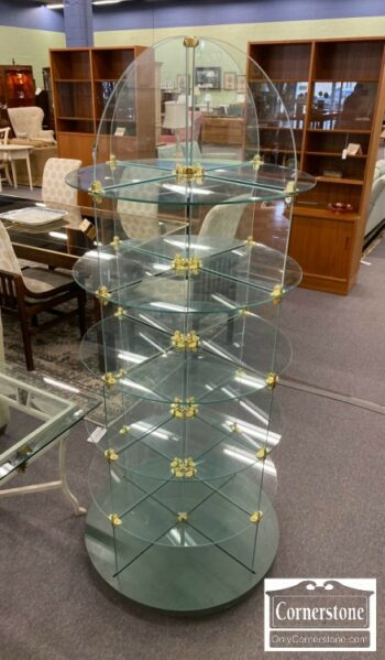 7000-898-Round Glass Shelving Unit on Wheels