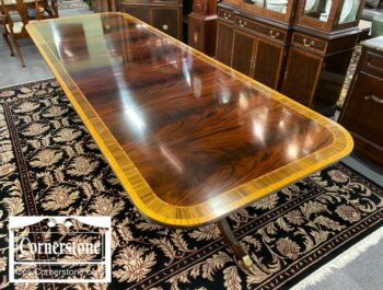 7000-909-Stickley Mah Banded Table 3 Leaves