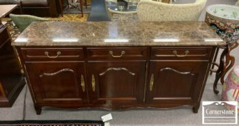 7000-911-Stickley Mah Marble Top Buffet Console