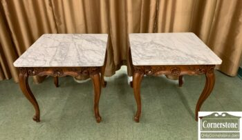 7080-8 - Pr French Style marble top end tables