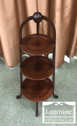 7105-1 - Solid Mah 3-Tier Muffin Stand