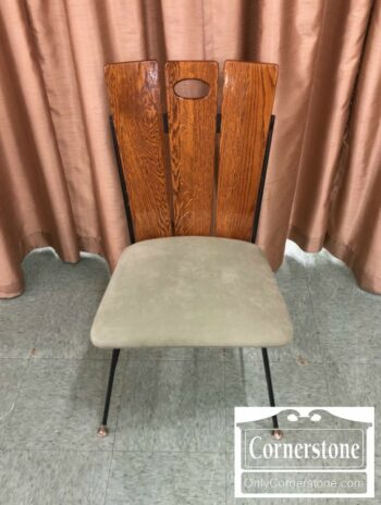 7124-7 - 1950s Retro Oak and Metal Side Chair