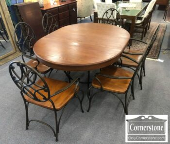 7169-12 - Keller Oak Contem Rnd Tbl 1lf 6 Chairs