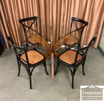 7210-8 - Round Contemporary Glass Top Tbl 4 Chairs