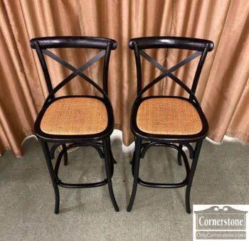 7210-9 - Pr Contemp Bar Stools Bl Rattan Seats