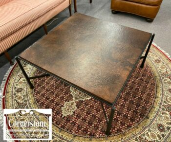 7215-3-Pottery Barn Hammered Copper Coffee Table