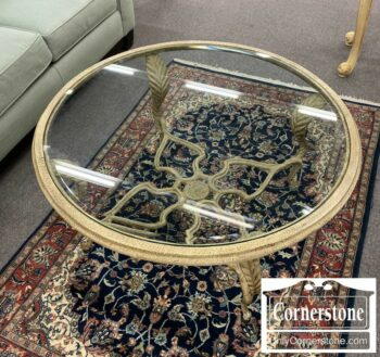 7220-1-Glass Top Coffee Table White Distressed Base