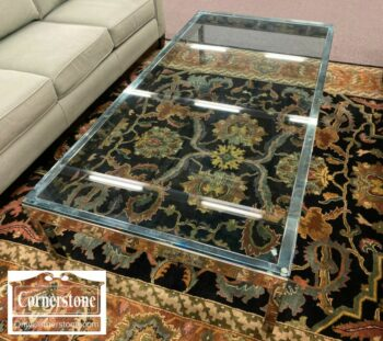 7224-1-Pace Style Chrome Coffee Table Glass Top