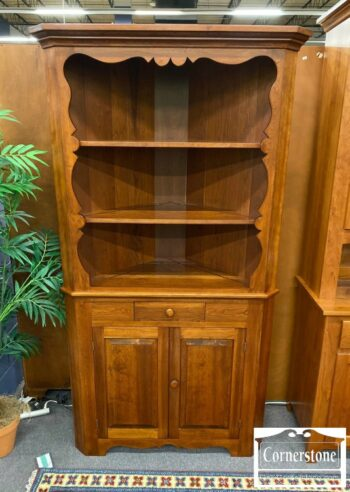 7257-1-Open 2pc Solid Cherry Corner Cabinet