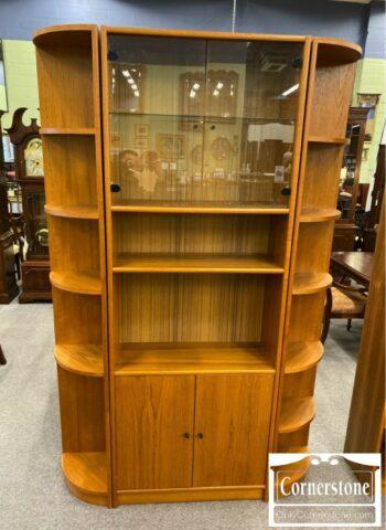 7263-1-3pc Teak Bookcase Wall Unit