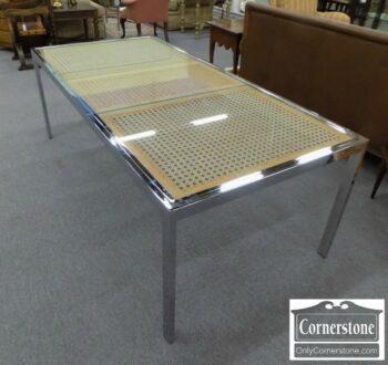 7288-1-1970's Chrome & Cane Table with 1 Leaf
