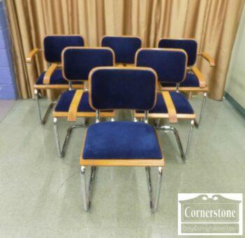 7288-3-6 1970's Chrome & Blue Mohair Chairs