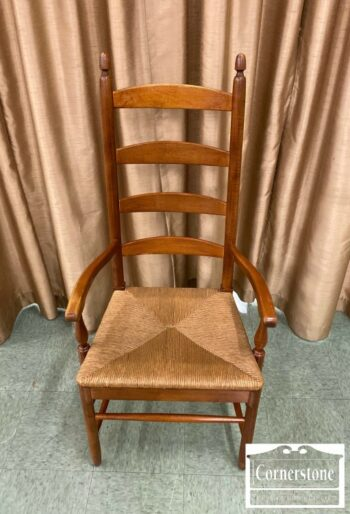 7289-2-Thomasville Maple Ladderback Arm Chair w Rush Seat