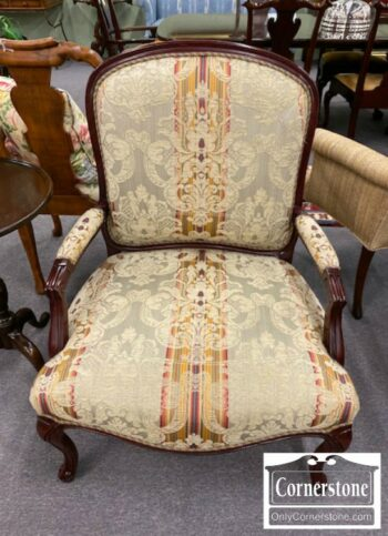 7296-2-French Style Upholstered Arm Chair