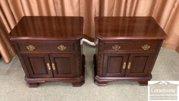 7310-10 - Pr of PA House Sol Cher Chipp Nightstands Glass Top