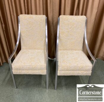 7310-12-Pr of Cont Off White Chairs Aluminum Frames