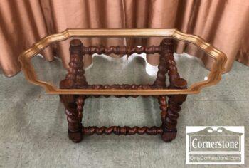 7334-1 - Glass Brass Tray Top Coffee Tbl Oak Base