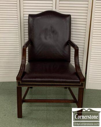 7350-6 - Hickory Chair Mah Burgun Leath Off Chr