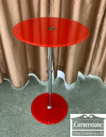 7410-3 - Modrn Rnd Red Glass Adj End Table Wilbert