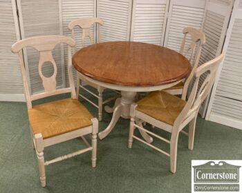 7412-1 - Cont White Washed Round Tbl 4 Chairs