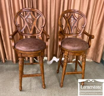 7441-2 - Pr Leather Bar Stools