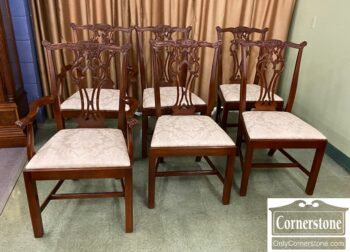 7449-3 - 6 Mah Chippendale Dining Chairs