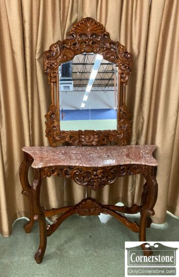 7469-6 - Credenza w Red Marble Top w Mirror