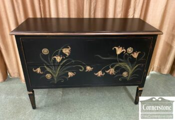 7561-5 - Fr Sty Black Paint Decorated Console