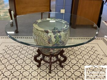 7562-1 - Chinese Planter with Round Glass Top