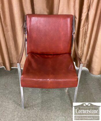 7626-112 - Chrome Arm Chair Brown Vinyl