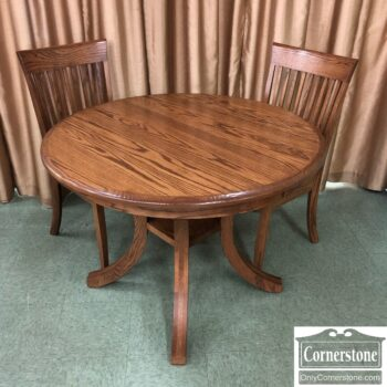 7626-589-Solid Oak Round Table 2 Chairs