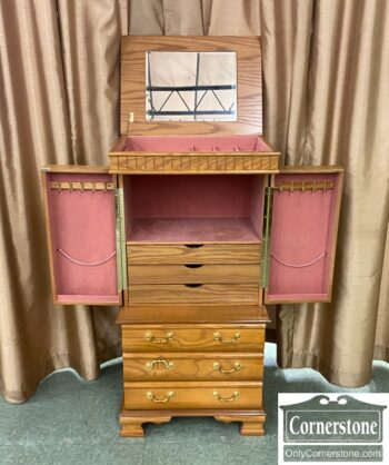7626-8 - Oak Jewelry Armoire