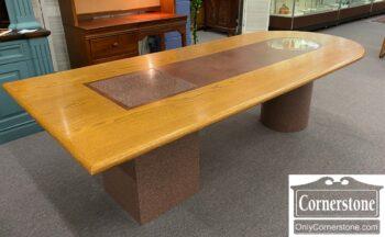7628-30 - Oak Top Desk on Formica Pedestals